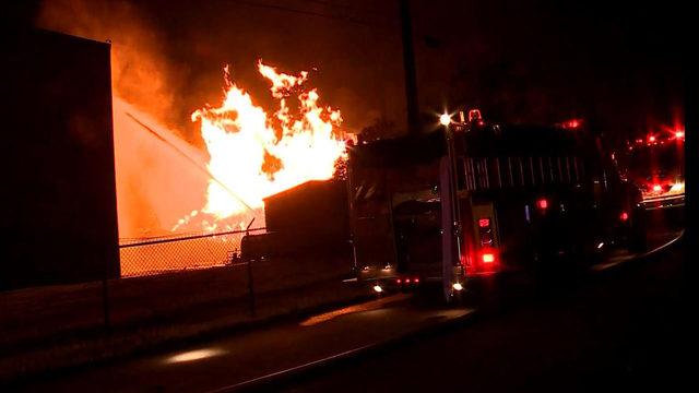 Thousands of Jim Beam bourbon barrels burn in Kentucky