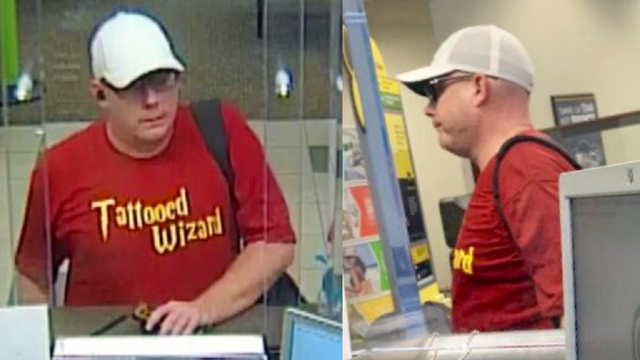Man in 'Tattooed Wizard' shirt robs Orange County bank, deputies say