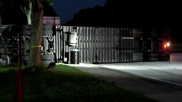 Big rig overturns in DeLand, causing traffic delays