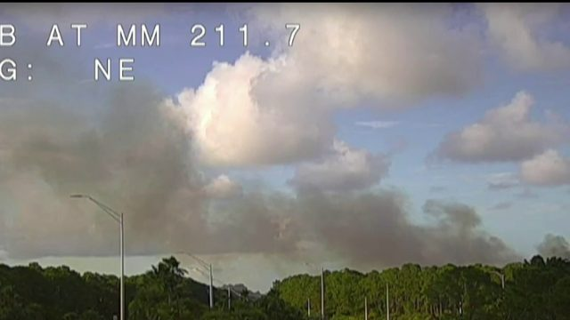 Brush fire burns near I-95 in Brevard County