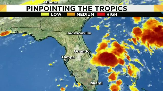 Tropical depression causing higher chance for rain