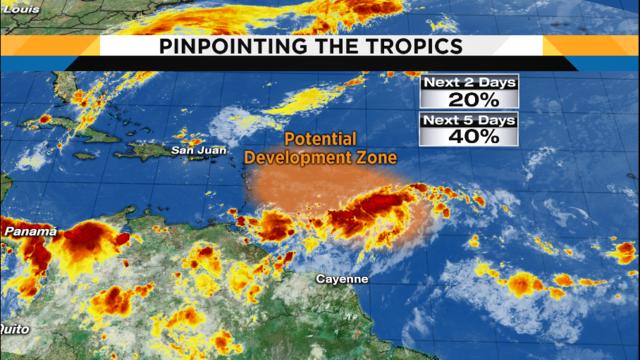 Lower storm chances Saturday, tropical development possible
