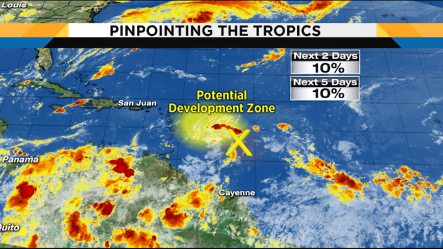 Few storms Sunday, tropical development chances lowered