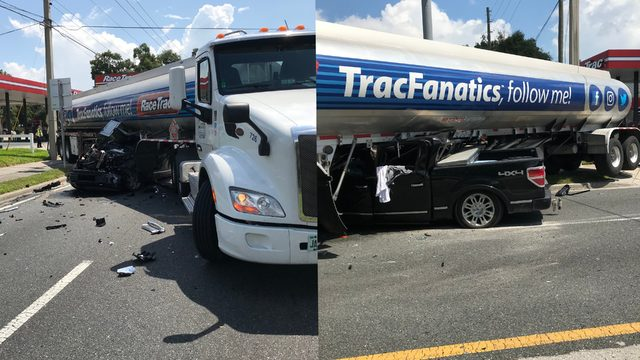 Pickup truck collides with gasoline tanker in Ocala