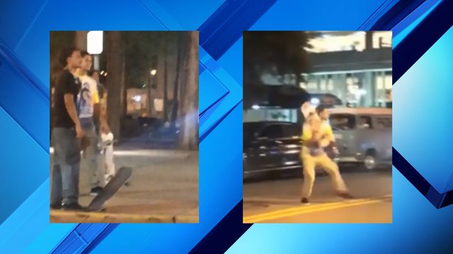 Video: Group uses skateboards to beat man in downtown Orlando