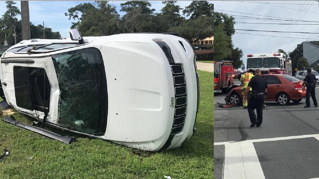 Jeep rolls over in Ocala crash