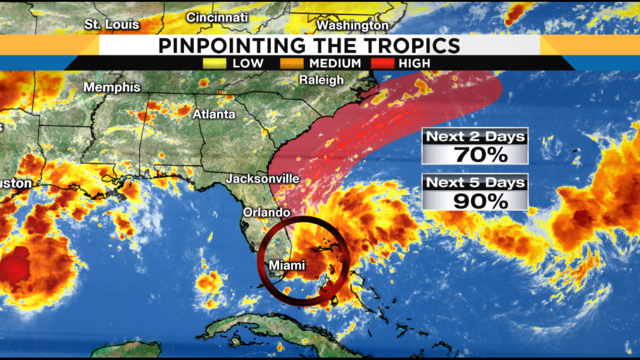 Area of low pressure has 90% chance of developing into tropical depression