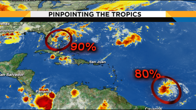 Lower rain chances Saturday, chances increase for tropical development