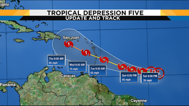 Tropical Depression 5 forms in the Atlantic