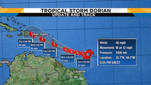 Depression strengthens into Tropical Storm Dorian in Atlantic