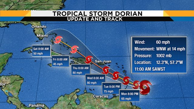 Tropical Storm Dorian: Track, computer models, satellite
