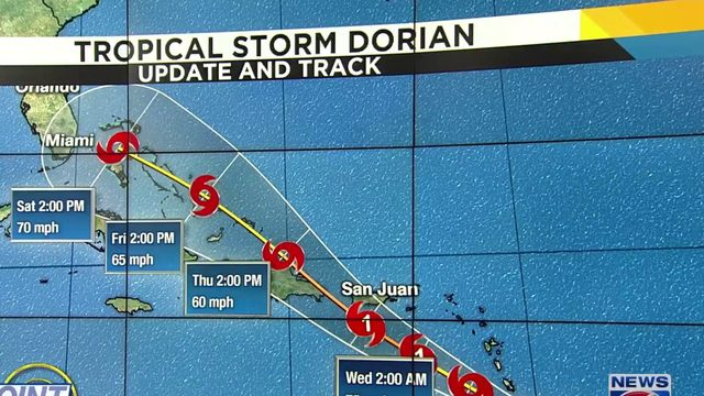 Tracking Tropical Storm Dorian 5 p.m. track update