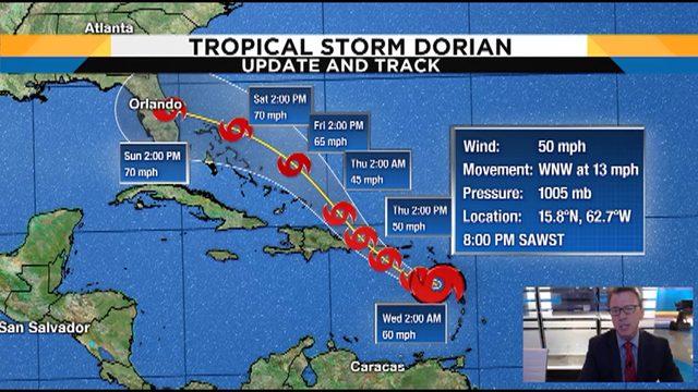 Tropical Storm Dorian takes aim at Puerto Rico