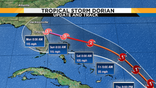 Latest track shows Dorian hitting Central Florida as Category 3 hurricane