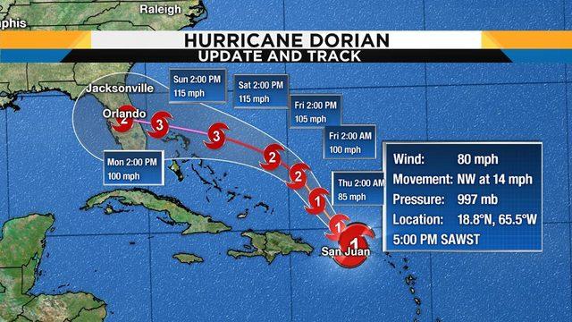 Dorian takes an unlikely path toward Florida