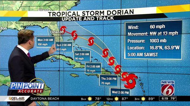 Latest track shows Dorian hitting Florida as hurricane
