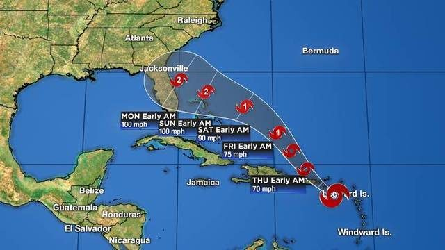 Latest track shows Dorian hitting Central Florida as Category 2 hurricane