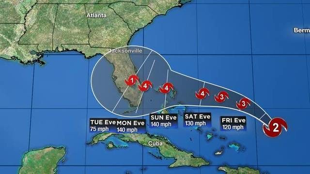 Dorian upgraded to Category 2 hurricane