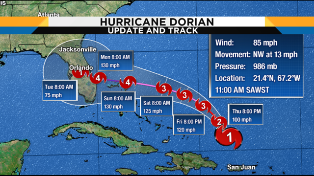 WATCH LIVE UPDATES: Track, computer models, satellite for Hurricane Dorian