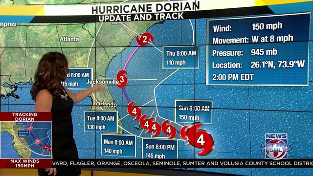 Hurricane Dorian continues to head toward Northwestern Bahamas