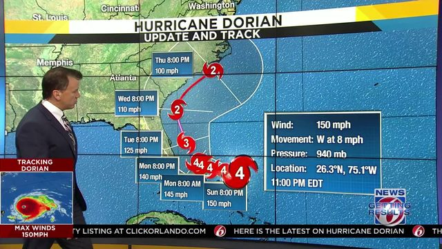 Newest projected path of Hurricane Dorian released
