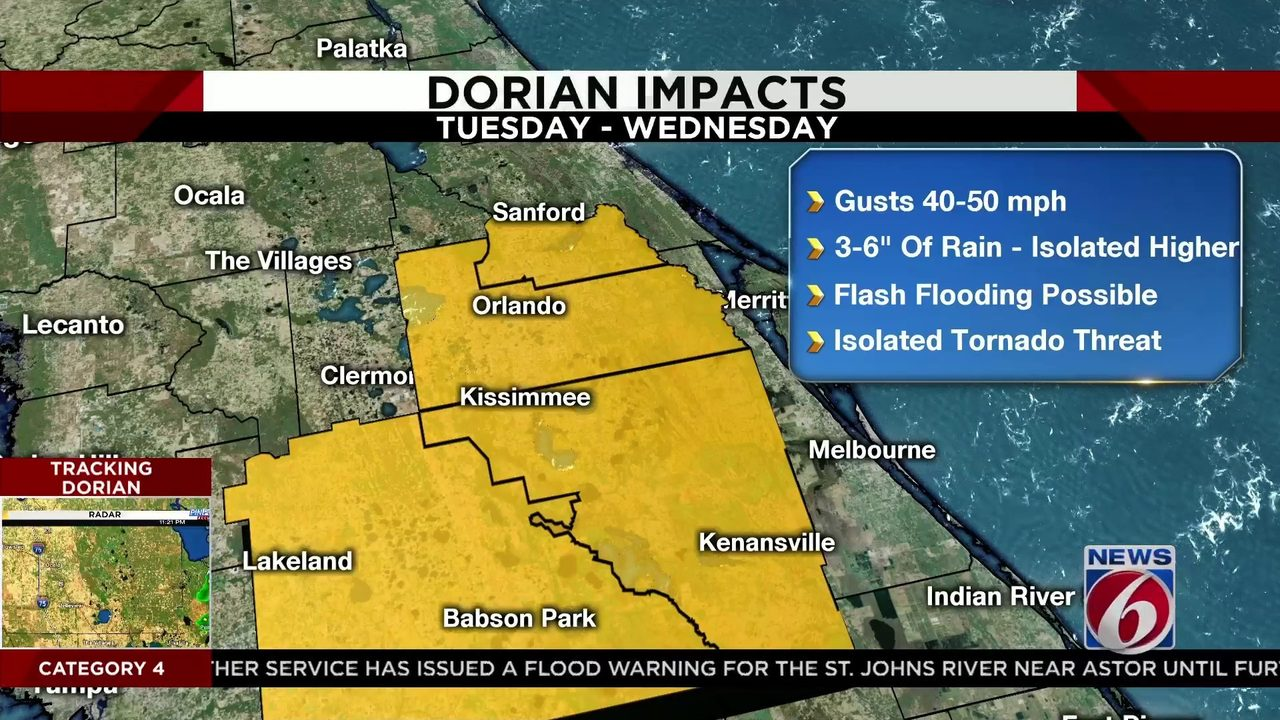 Hurricane Dorian: Latest timeline, impacts for Central Florida