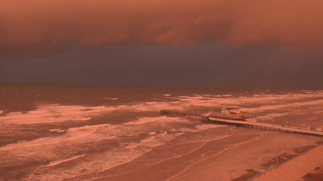 Hurricane Dorian red sunset over Daytona Beach