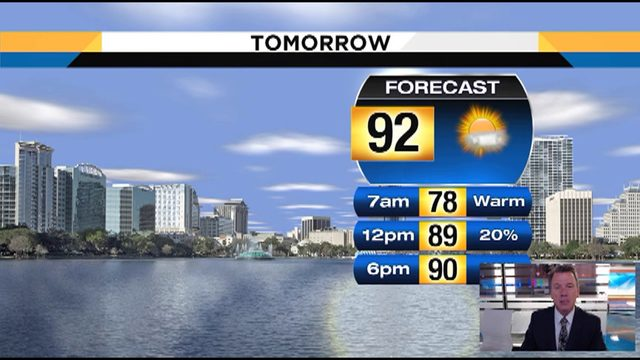 Temps could hit 92 in Central Florida on Wednesday