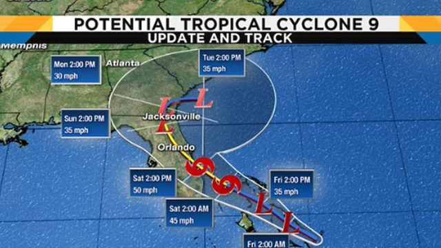 Disturbance near Bahamas expected to become Tropical Storm Humberto