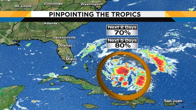 Tropical disturbance has 70% chance of developing in next 2 days