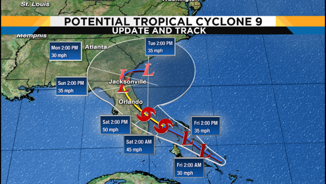 Disturbance near Bahamas now Potential Tropical Cyclone 9