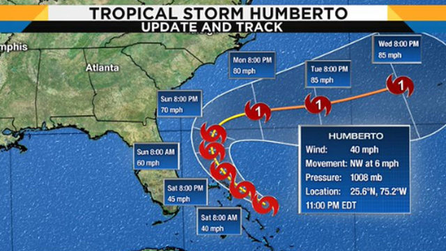Latest track, models: Tropical system strengthens to Tropical Storm Humberto