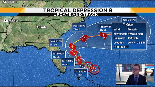 Florida out of the cone of Tropical Depression Nine