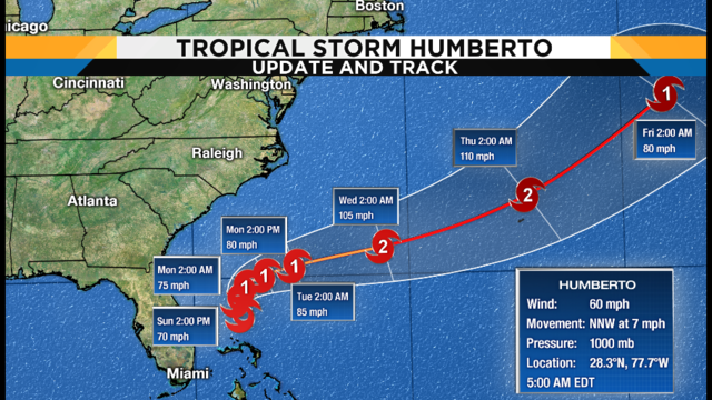 Humberto pulls away from Bahamas, parallels Florida coast