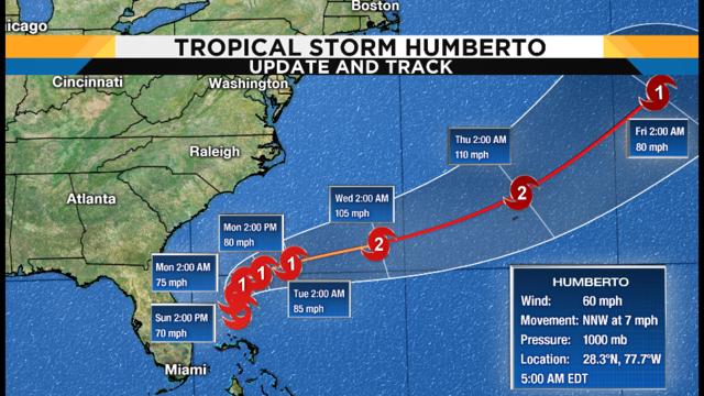Humberto pulls away from Bahamas, parallels Florida coast