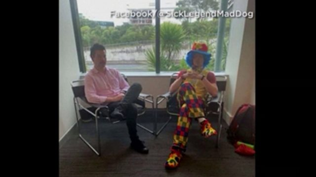 Man brings 'emotional support clown' to his firing