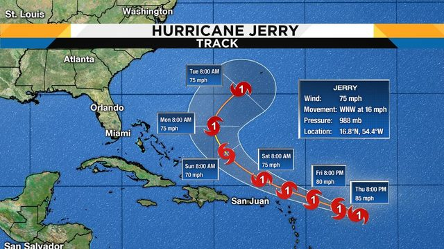 Jerry strengthens to hurricane status, 4 other systems still in the tropics