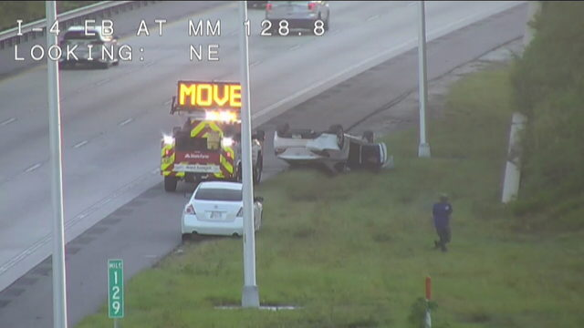 Driver unharmed after car falls 50 feet off I-4 in Volusia