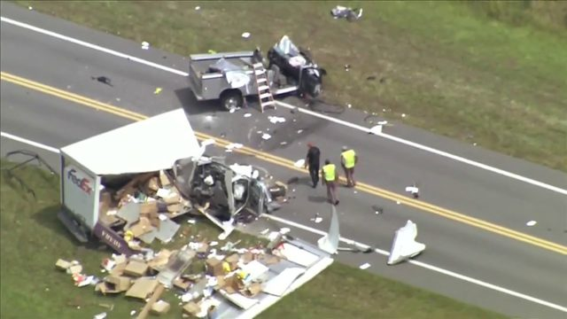 Aerial video: FedEx driver killed in two-vehicle crash