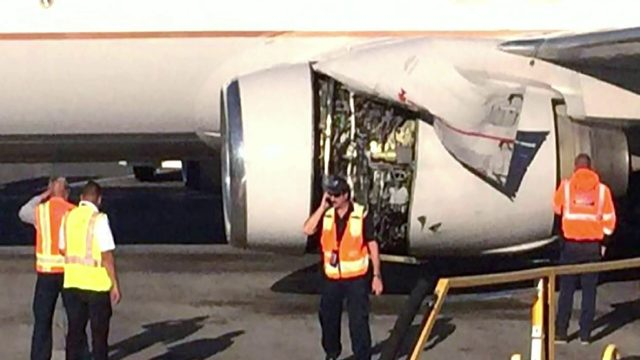 Photo: Engine cover peels back on United flight headed to Orlando