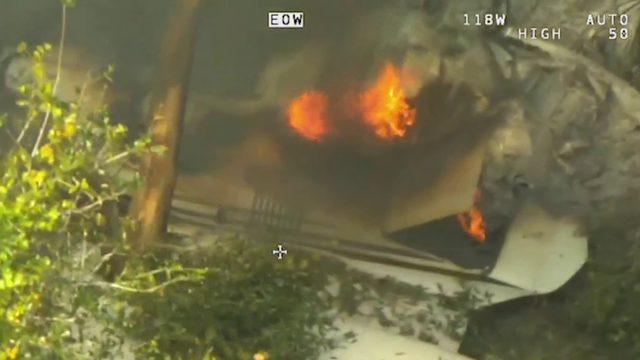 Video shows aftermath of triple fatal plane crash