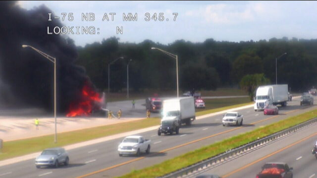 Crews battle large vehicle fire along I-75 South in Marion County