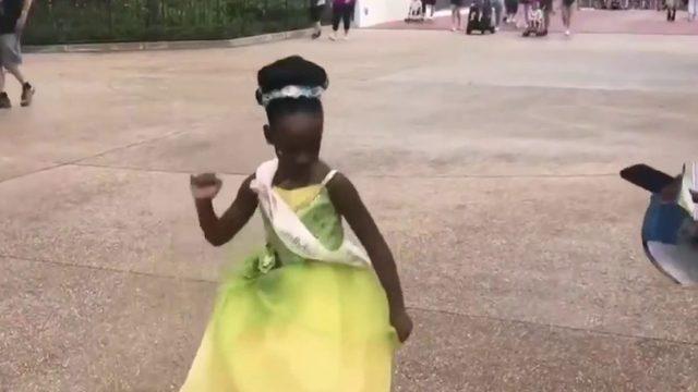 Adorable little girl goes viral dancing at Disney