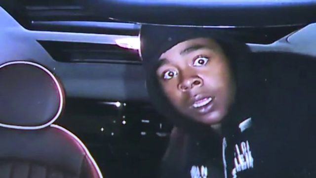 Car prowler's shocked face captured on dashcam