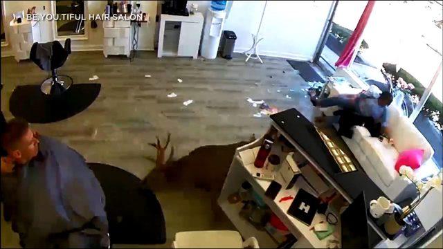 Deer smashes through window of hair salon