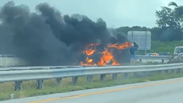 Video: Dump truck catches fire on Pineda Causeway