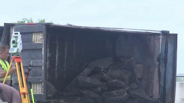 Dump truck catches fire in Brevard County crash