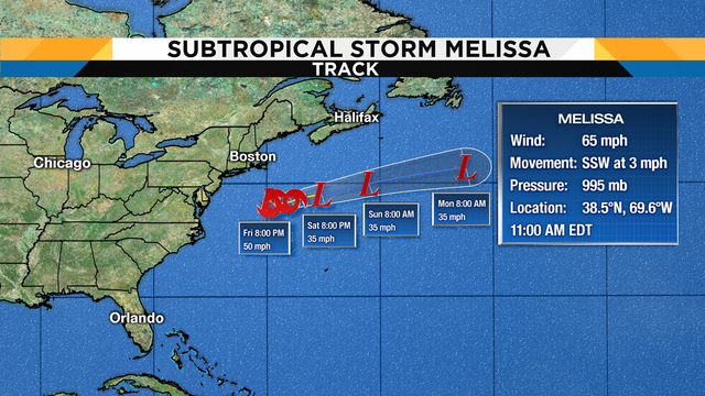 Subtropical Storm Melissa forms southeast of New England