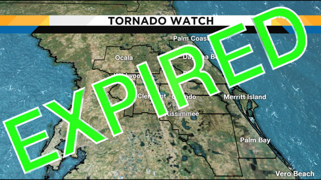 Tornado watch expires for Central Florida, improving weather