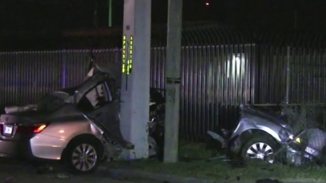 Car split in half in Cocoa crash